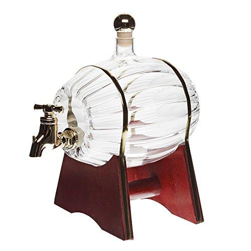 slkfactory Barril para Vino/Whisky/Cerveza con tapón, Soporte y Grifo, de 500 ml, Botella de Vidrio soplado a Mano para Licor y orujo de 16,5 cm de Altura