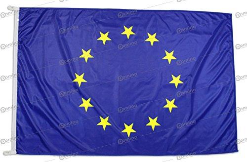 Bandiera Europa 150x100 Centimetri Tessuto Nautico Antivento 115 gram/m², Bandiera Europea 150x100, Bandiera d'Europa Dotata Di Cordino o Ganci, Doppia Cucitura Perimetrale, Fettuccia Di Rinforzo