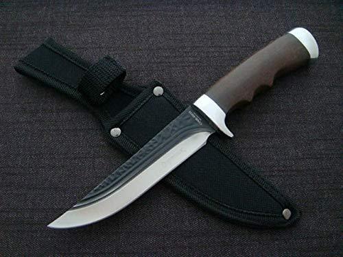 Edles Messer mit Echtholz 24,5cm - Freizeitmesser mit Messerscheide - Outdoor - Messer - Camping - Angeln - Jagen - festehende Klinge - Silber - schwarz -