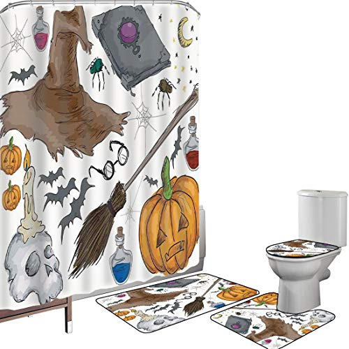 Shower Curtain Set Bathroom Accessories Carpet Set Halloween Decorations Bath Mat Contour Rug Toilet Cover Magic Spells Witch Craft Objects Doodle Style Grunge Design Candle Skull,Multi Non-Slip Water