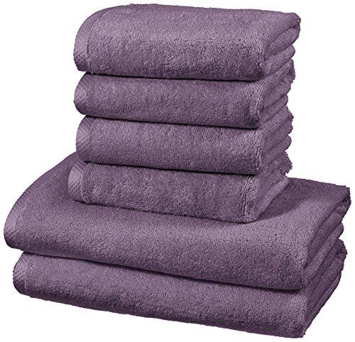 AmazonBasics - Handtuch-Set, schnelltrocknend, 2 Badetücher und 4 Handtücher - Lavendelviolett, 100 Prozent Baumwolle