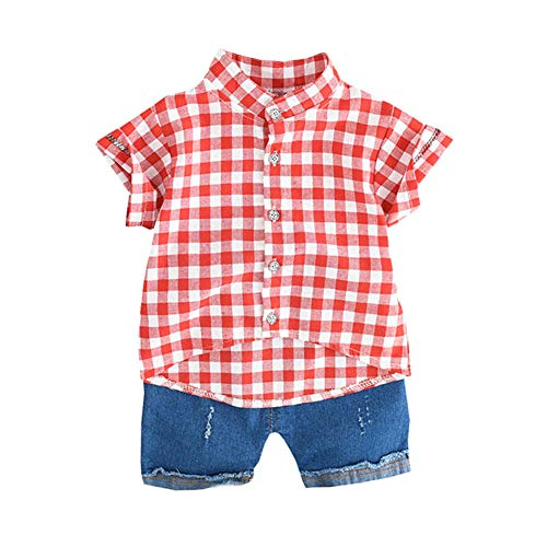 Gyratedream Baby Jongen Kleding Sets Kids Tops Shorts Set Kinderen Zomer Korte Mouw Plaid Print Blouse Shirt+Shorts Jeans 2 stks Kind Casual Outfits Suits