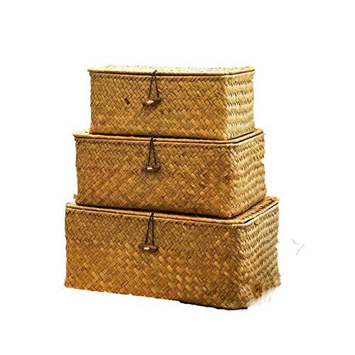 Cesta de la cesta de mimbre natural, caja de almacenamiento tejido a mano con tapa de almacenamiento de ratán Canasta de joyería de joyería Contenedor de alimentos Organizador de maquillaje para cocin