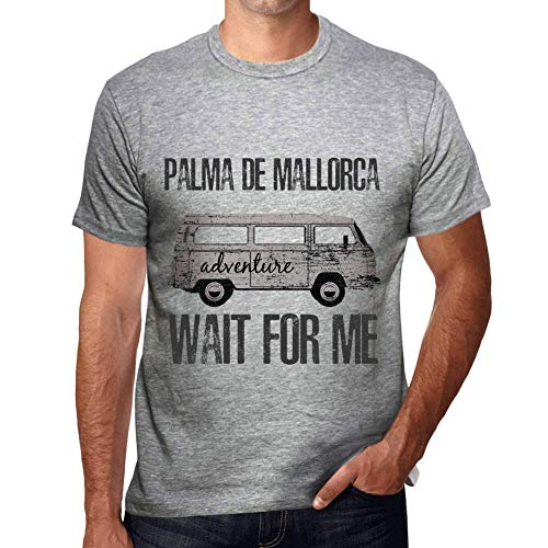 One in the City Hombre Camiseta Vintage T-Shirt Gráfico Palma DE Mallorca Wait For Me Gris Moteado
