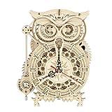 Robotime 【2020年最新版】立体パズル 木製パズル 置き時計 クラフト プレゼント おもちゃ オモチャ 知育玩具 男の子 女の子 大人 入園祝い 新年 ギフト 誕生日 クリスマス プレゼント 贈り物 フクロウ (フクロウ 時計)LK503