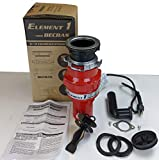 Compact slim garbage disposal disposer 1/3HP with power cord fits small spaces Model: Becbas Element...