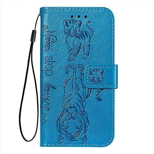 Suhctup Flip Premium PU Portefeuille Compatible Con Huawei P20 Lite (2019) / Nova 5i Coque Housse en Cuir Protection Bumper Etui avec [Porte Cartes] [Stand Fonction] Anti-Rayures Rabat Cover,Bleu