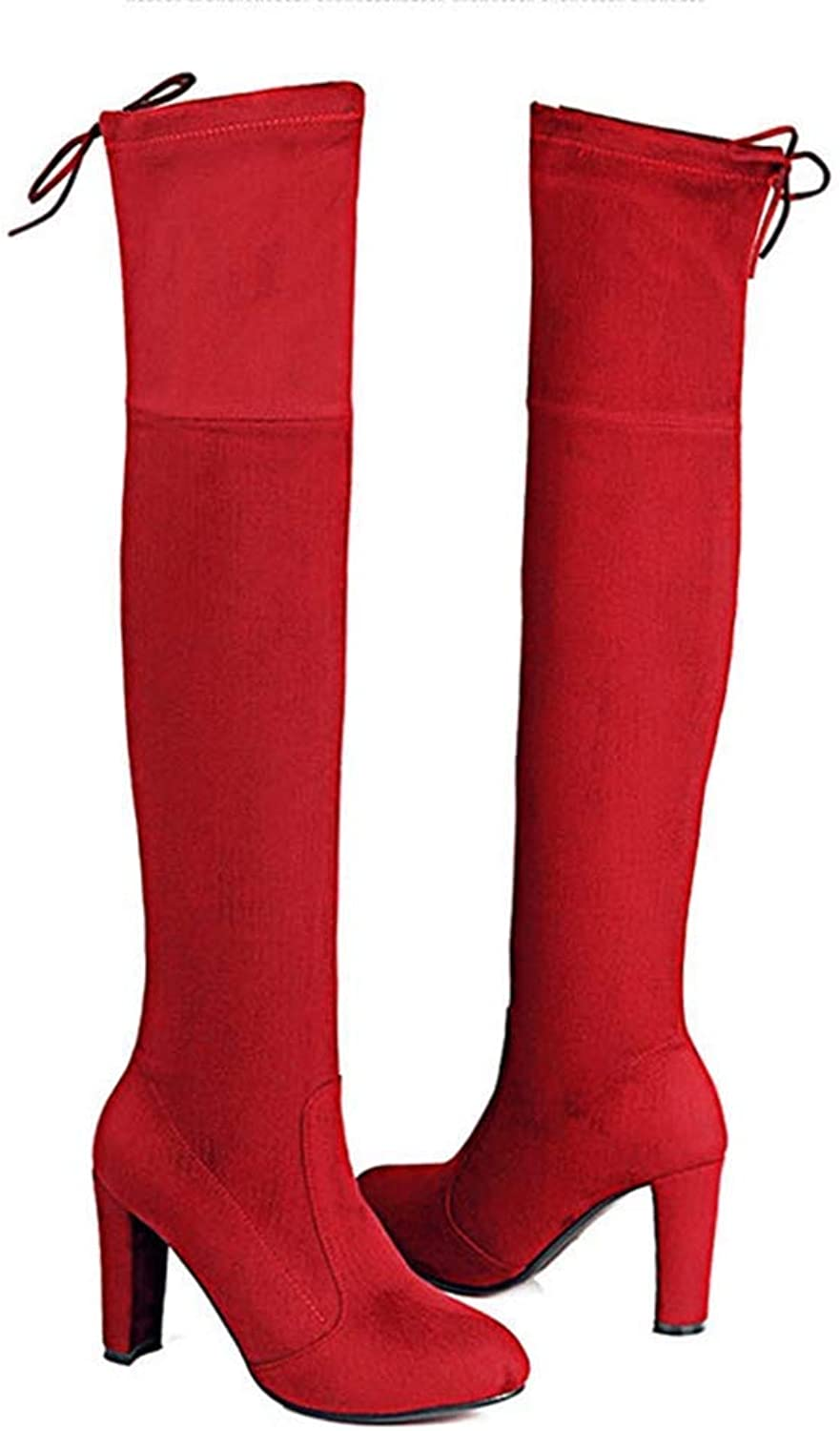 Webb Perkin Women Block High Heel Stiletto Suede Winter shoes Warm Lace Up Noots Lady Over The Knee High Boots
