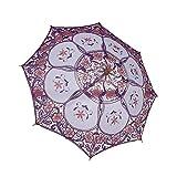 Paraguas de sombrilla de encaje bordado victoriano vintage con mango de madera Accesorios de fotografía nupcial para boda Fiesta de cosplay Fiesta de Halloween (S-Girls, L-Ladies)