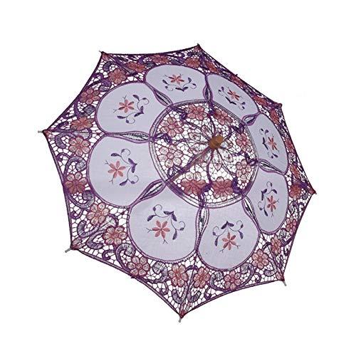 Maritown Viktorianische Vintage Stickerei Spitze Sonnenschirm Regenschirm mit Holzgriff Braut Foto Requisiten für Hochzeit Prom Cosplay Party Halloween (S-Mädchen, L-Damen)