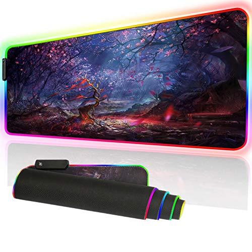 Großes Gaming-Mauspad 90 x 39,9 cm (35,4 x 15,7 Zoll), rutschfeste Gummiunterseite, Nahtkante für Gaming oder Büro