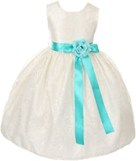 Cinderella Couture Girls Elegant Ivory Lace Flower Girl Dress & Contrasting Sash
