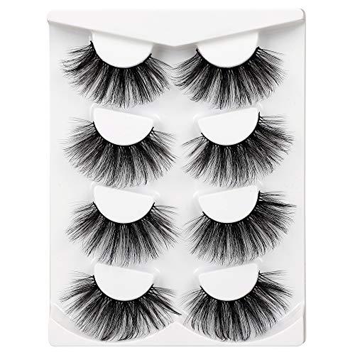 25MM Long False Eyelashes Dramatic Fake Lashes Lightweight soft Lashes High Volume Lash Pack 4 Pairs