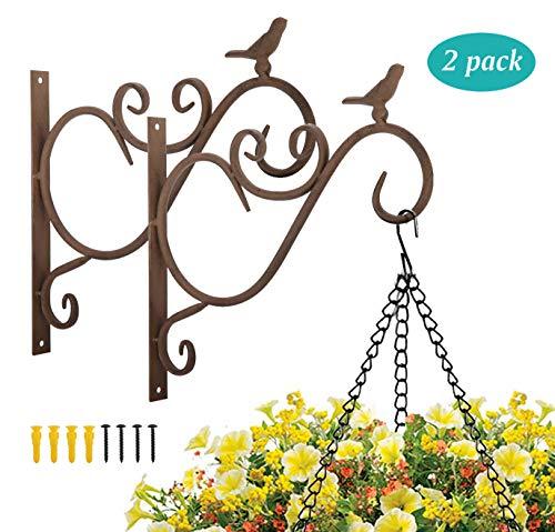 Lewondr [2 PZS Estante de Suspensión de Planta en Jardín al Aire Libre, Soportes de Pared de Metal de Flores Flotantes, Arte de Hierro Montado en la Pared Tripod con Clavos Incluidos - Pajarito