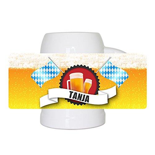 Bierkrug mit Name Tanja und schönem Bier-Motiv mit blau-weißen Flaggen | Bier-Humpen | Bier-Seidel