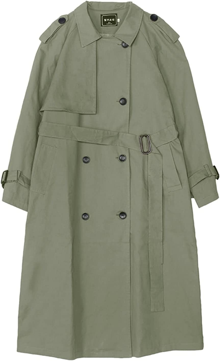 fzwt England Style Double-Breasted Long Women Trench Coat Belted with Flaps Spring Autumn Lady Windbreaker Duster Coat Female Clothes (Color : Green, Size : S)
