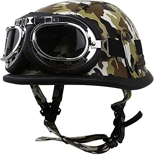 Retro Cascos Half-Helmet Cascos Abiertos,Casco de Motocicleta con Gafas,Cruiser Chopper Scooter Ciclomotor Seguridad Anticolisión Cap Adulto Unisex Universal,Certificado ECE B,L=59~60CM