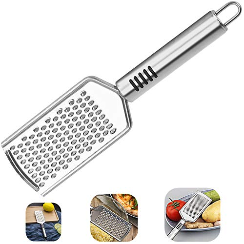 Cheese Grater, Kmeivol Stainless Steel Square Comfortable Grips Coarse Grater with Hanging Loop, Pro Grade Flat Hand Held Cheese Grater for Kitchen, Sharp Blades Medium Shred Cheese Grater