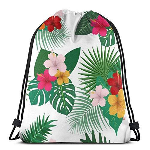 Flores Tropicales con Hojas en Blanco Mochila con cordón Bolsa de Deporte para Mujeres y Hombres Bolsa de Deporte 36 x 43 cm / 14,2 x 16,9 Pulgadas