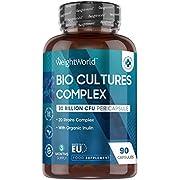 Bio Cultures Complex with Organic Inulin - 30 Billion CFU Capsules, 20 Active Strains - 90 Acid-Resistant Vegan Capsules (3 Month Supply), Multi Strain Bacteria Supplement with 100mg Prebioitic Fibre