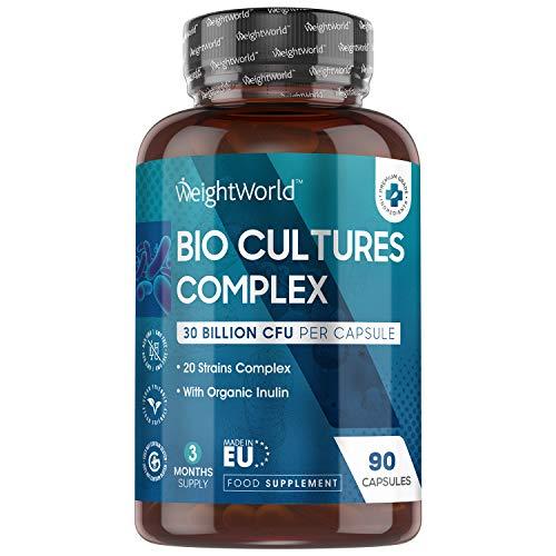 Bio Cultures Complex - Ferments Lactiques Flore Intestinale et Transit - 90 Capsules Vegan - 30 Milliards d'UFC/jour | 20 Souches de Bactéries dont la Lactobacillus Gasseri + Inuline WeightWorld
