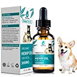 Hemp Oil for Dogs Cats - 3000mg - Omega Rich 3, 6 & 9 - Supports Hip & Joint Health, Natural Relief for Pain Separation Anxiety - Organic Pet Hemp Oil Calming Drops
