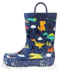 3. Outee Toddler Kids Printed Dinosaur Rain Boots with Easy-On Handles