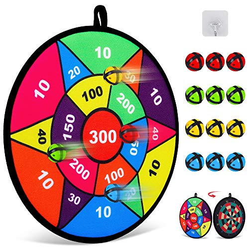 Board Games for Kids,Double-Sided Dart Board for Kids with 12 Sticky Balls,...