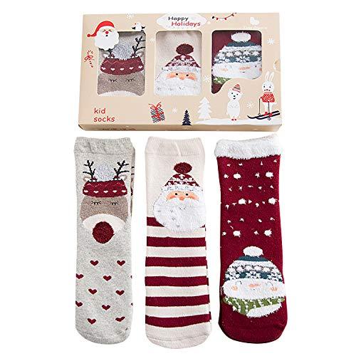 Alihoo - Calcetines de Navidad para bebé, 3 pares, unisex, calcetines de Navidad para niños, calcetines de algodón, diseño de Papá Noel, Navidad, calcetines, regalos de 1 a 12 años de edad