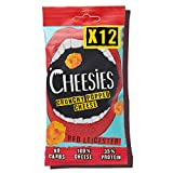 Cheesies - Snack de Queso Crujiente, Red Leicester. Sin Carbohidratos, Alto en Protínas, Sin Gluten, Vegetariano, Ceto. 12 Bolsas de 20g.