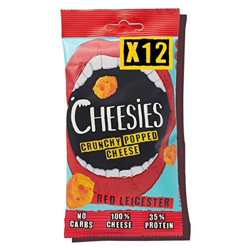 Snack de Queso Crujiente Cheesies, Red Leicester. Sin Carbohidratos, Alto en Protínas, Sin Gluten, Vegetariano, Ceto. Red Leicester 9 Bolsas de 90g.