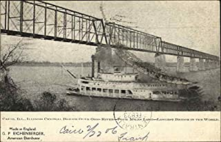 Illinois Central Bridge over Ohio River Cairo IL Original Vintage Postcard 1906