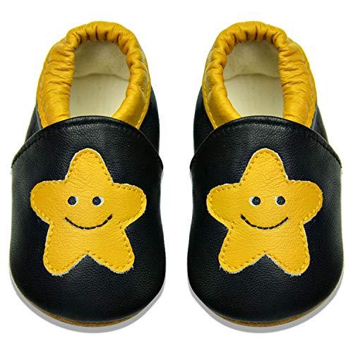 BAOLESEM Baby Lauflernschuhe Jungen Krabbelschuhe Mädchen Weicher Leder Kleinkind Babyhausschuhe Rutschfesten Wildledersohlen, Gelb Star, 12-18 Monate