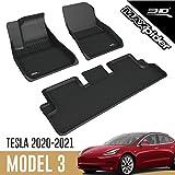 3D MAXpider Tesla Model 3 2020 Tapis de Sol en Caoutchouc pour Voiture Auto Tous Temps Antidérapant Imperméable Recouvrement Total