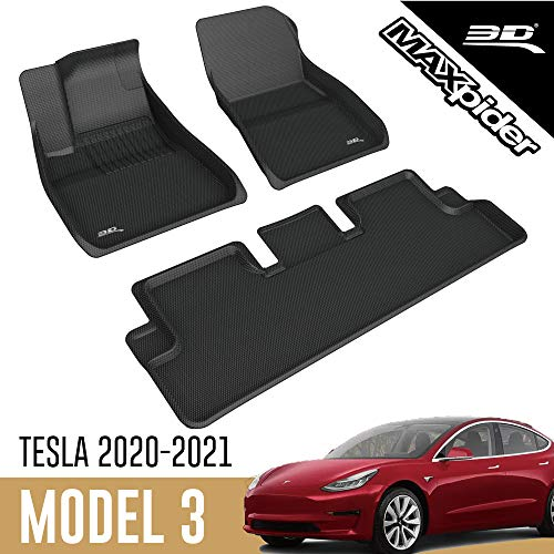 3D MAXpider All-Weather Floor Mats for Tesla Model 3 2020 2021 Custom Fit Car Floor Liners, Kagu Series (1st & 2nd Row, Black)