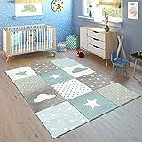 Paco Home Alfombra Infantil Habitación Cuadros Puntos Nubes Estrellas Pastel Azul Gris, tamaño:120x170 cm