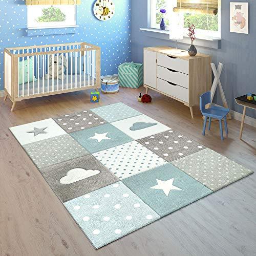 Paco Home Kinderteppich Kinderzimmer Kariert Punkte Wolken Sterne In Pastell Blau Grau, Grösse:120x170 cm