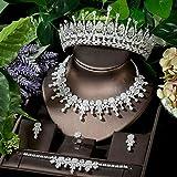 HappyL Splackling Full CZ Bridal Jewelry Sets 5pcs Tiara Pendiente Anillo Pulsera Collar Pendientes Conjuntos Cena De Boda (Color : White Color)