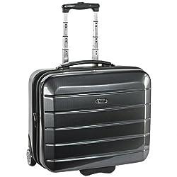 """eleganter Trolley Reise Koffer """"London"""" in Carbon-Optik Grau Cabin-Board-Case 46 x 36 x 21,5 cm 35 Liter Businesskoffer Koffer für Kurzreisen kleiner Koffer"""