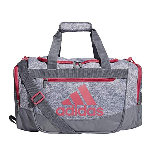 adidas Unisex Defender III Small Duffel Bag, Grey Jersey/ Grey/ Real Pink, Small