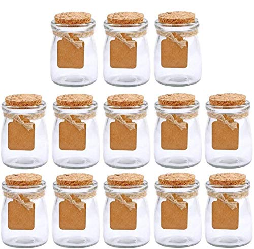 Glass Favor Jar With Cork Lids and Labels - Set of 30