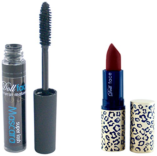 Doll Face Mineral Makeup, Set da regalo natalizio, incl. Rossetto Good Kitty Bad Kitty, Snakebite + Mascara Super-Lash, Nero