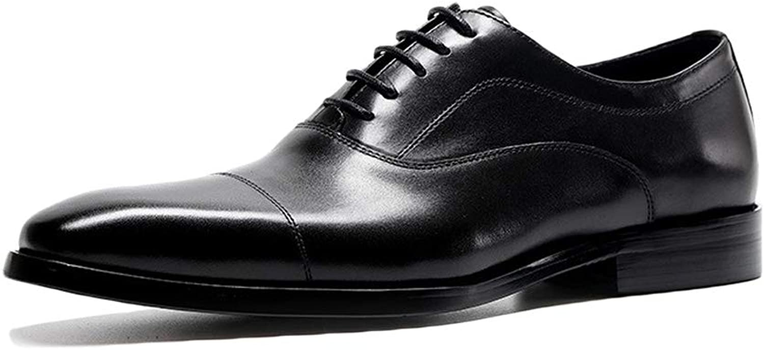 Men's Black Real Leather Lace-Up shoes Business Office Work shoes Vintage Pointed Toe Red Derby Formal Smart Wedding Dress Oxfords