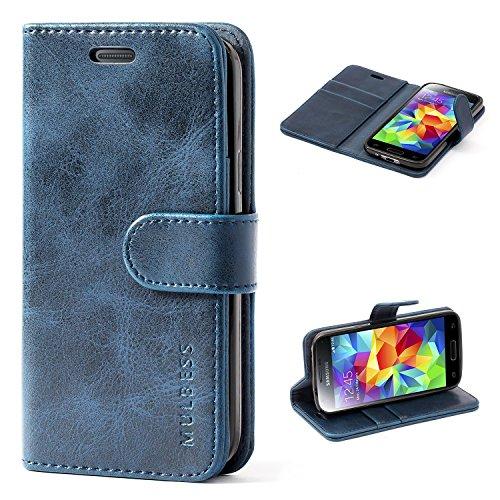 Mulbess Handyhülle für Samsung Galaxy S5 Mini Hülle Leder, Samsung Galaxy S5 Mini Handy Hüllen, Vintage Flip Handytasche Schutzhülle für Samsung Galaxy S5 Mini Case, Navy Blau