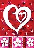 Toland Home Garden Heart & Flowers 28 x 40 Inch Decorative Valentine Day Love House Flag - 100042
