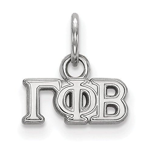 Hermoso colgante de plata de ley rodiada con logo Gamma Phi Beta XS
