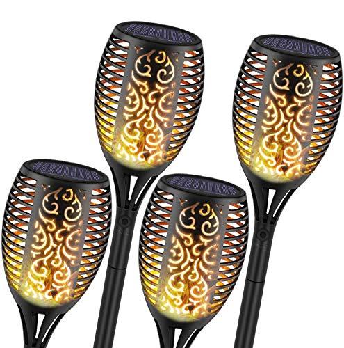 4 Pcs Solar Gartenleuchten, 96 LED, Wasserdicht Flackernde Flamme Solarleuchte Tanzen Flammen Landschaft Dekoration Beleuchtung Sicherheit im Freien Solarlicht mit Auto Ein/Aus
