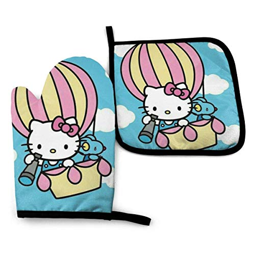 shenguang Flying Kitty Juego de manoplas y soporte para ollas, resistentes al calor, guantes seguros para barbacoa, hornear, cocinar