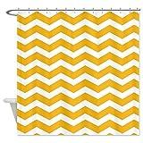 PETGOOD Duschvorhang Senf-Gelb Chevron viele schöne Duschvorhänge zur Auswahl, hochwertige Qualität, Wasserdicht, Anti-Schimmel-Effekt 180 x 200 cm