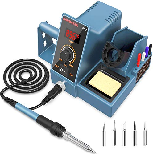 Soldering Station With Additional 5 Tips HANMATEK Digital Display Soldering Iron Station 392℉-896℉ Temperature Adjustable Better Soldering Iron Soldering Kit with Solder Bracket SD2